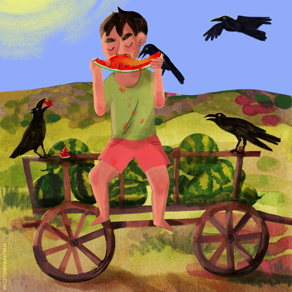 Eating watermelons with ravens