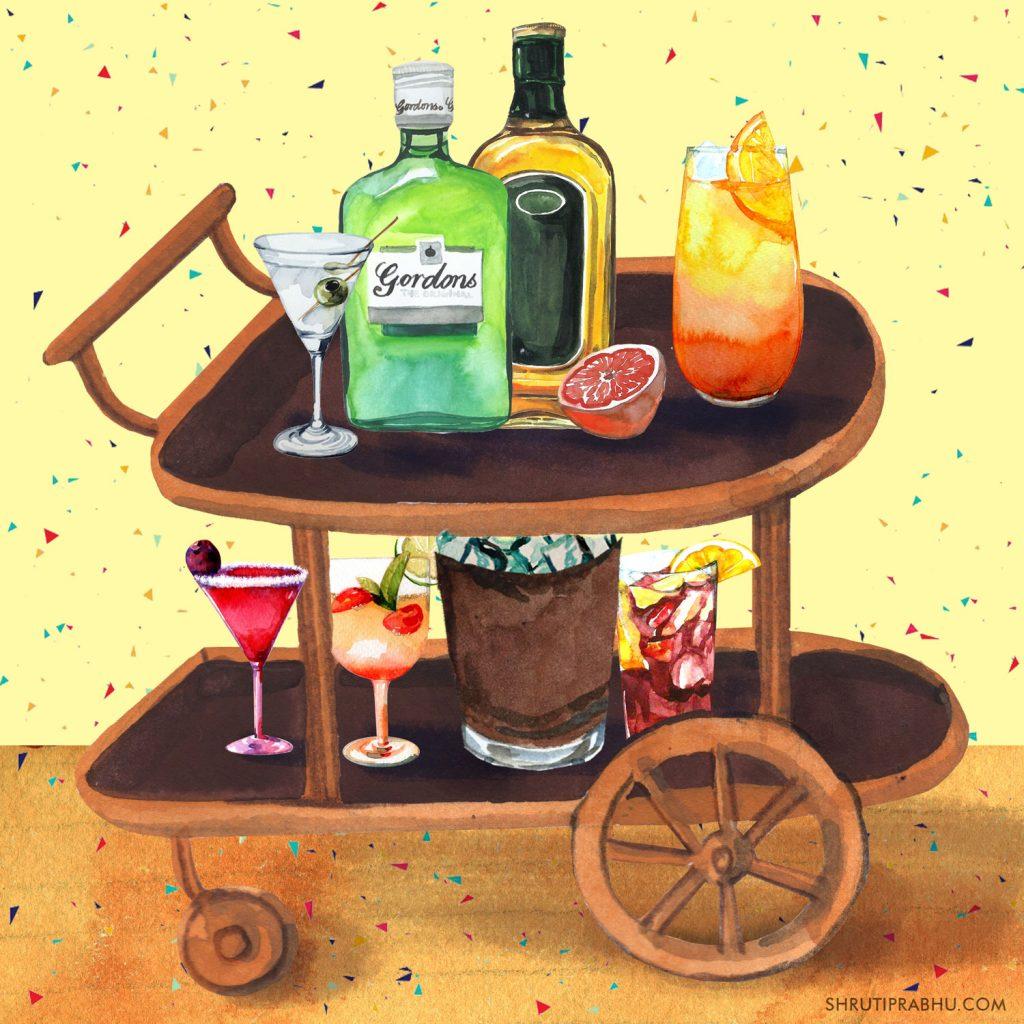 Bar Cart - Food Illustration