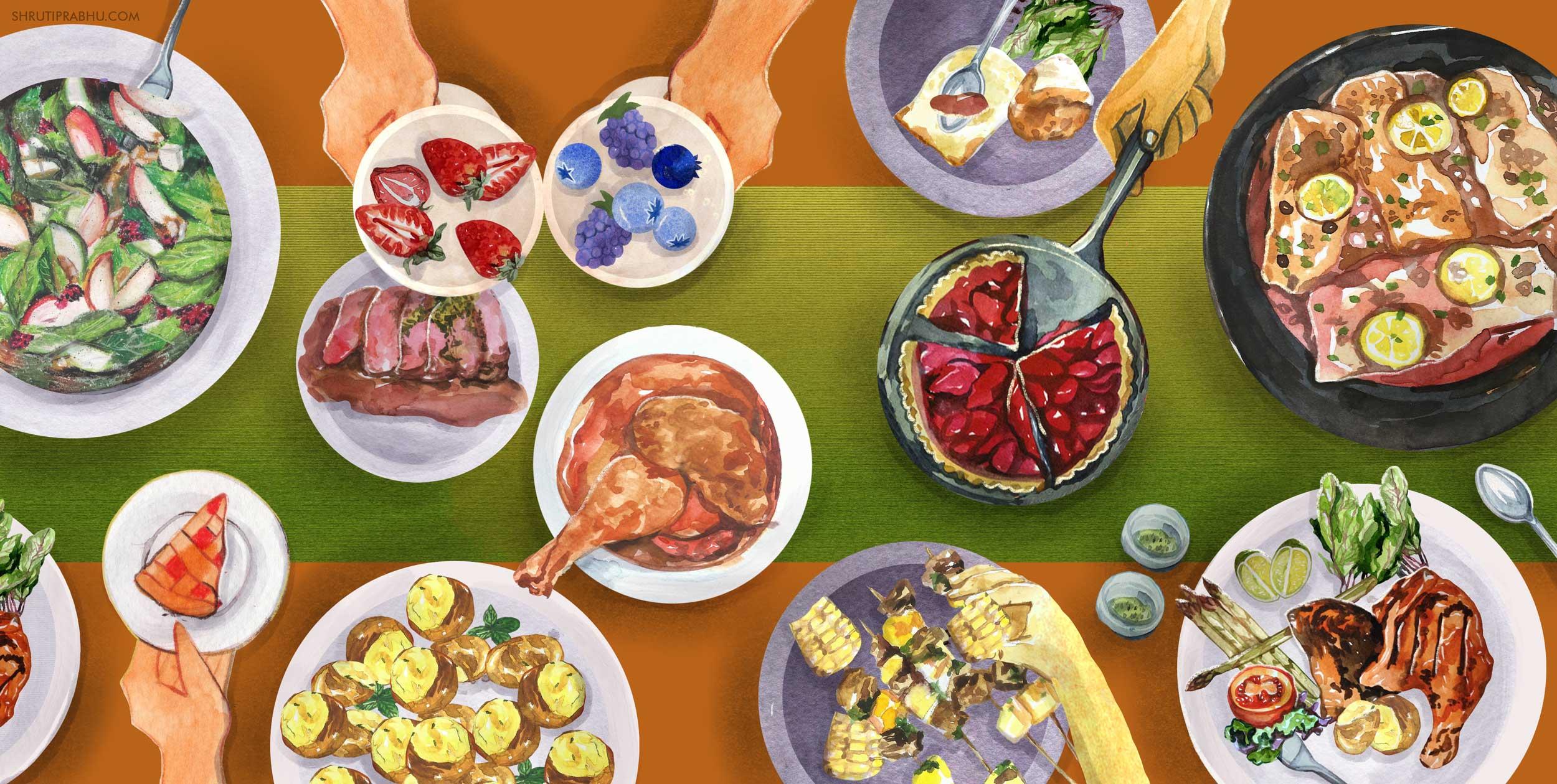 Food Illustration - Dinner Feast