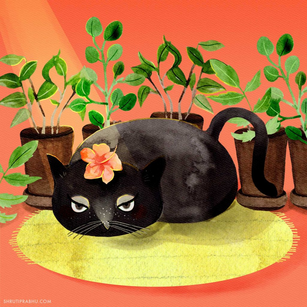 Cat with Plants