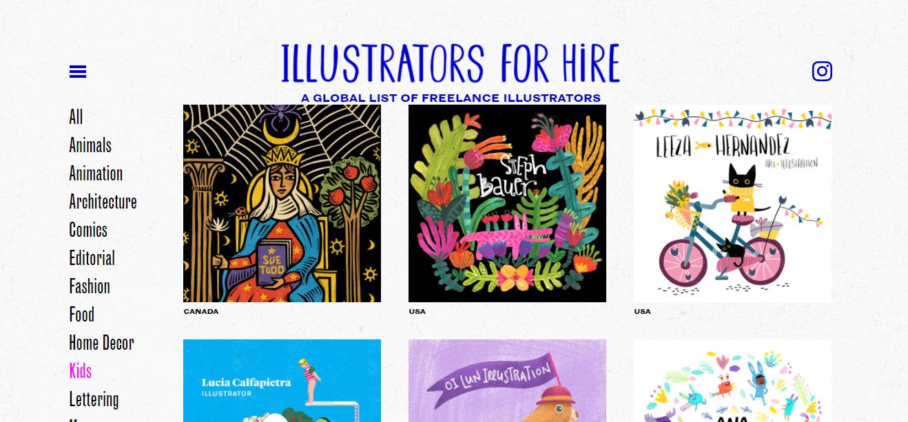 Illustrators for Hire Website