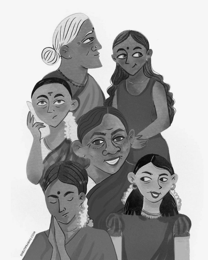 Black and White - South Indian Women - Middle Grade Illustration