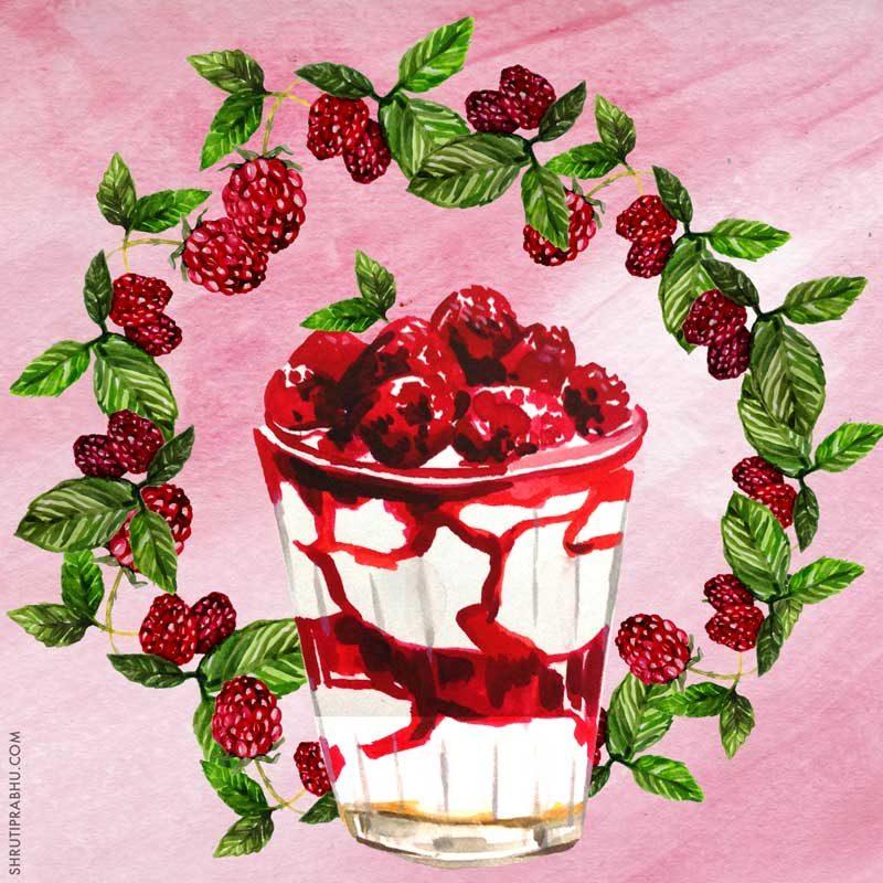 Raspberries and Cream - Food Illustration